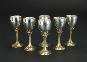 Six Small Silver Plated Goblets In Original Case