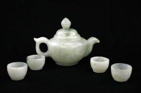 Chinese Carved Jade Tea Set