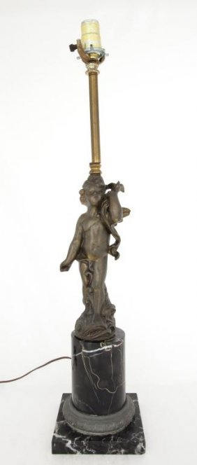 Bronzed Cherub Lamp On Marble Base