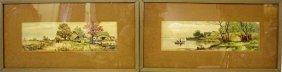 Pair Of Framed Watercolor Paintings