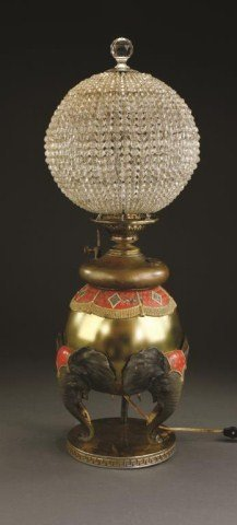 Antique Turkish Beaded Glass And Brass Oil Lamp