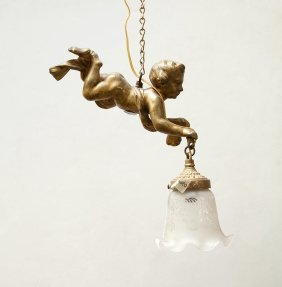 Giltbronze Lamp With Putti And Glass Shade