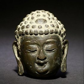 Chinese Bronze Figure Of Buddha's Head