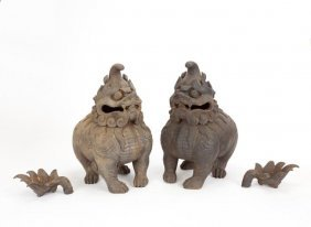 Pair Of Chinese Cast Iron Foo Lion Censers