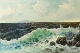 Oil On Canvas Painting Of The Ocean
