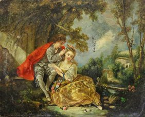 Small Oil On Board Painting Of An Amorous Couple