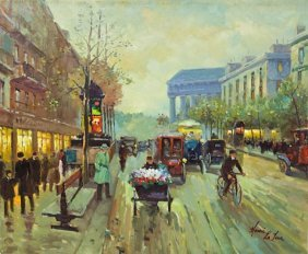 Oil On Canvas Painting Of A Rainy French Street