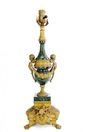 Marble And Spelter Lamp With Putti