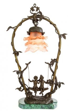 Bronze Decorative Lamp With Putti On Swing