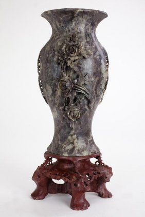 Chinese Carved Soapstone Vase On Stand