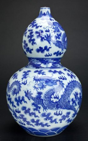Chinese Double Gourd Blue And White Dragon Vase