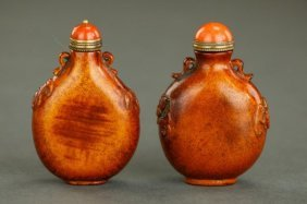 Two Chinese Carved Horn Snuff Bottles