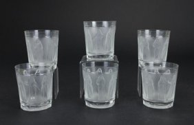 Six French Lalique Frosted Glass Cups