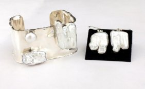White Opal And Sterling Silver Earrings & Bangle