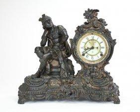American Figural Spelter Mantel Clock