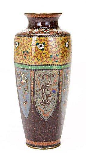 Japanese Cloisonne Vase With Hexagonal Body