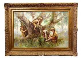 Oil On Canvas Painting Of Kids Playing