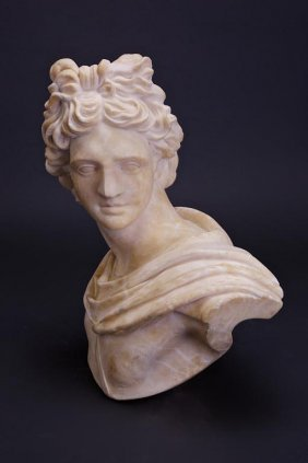Classical Carved Marble Bust Statue Of A Man