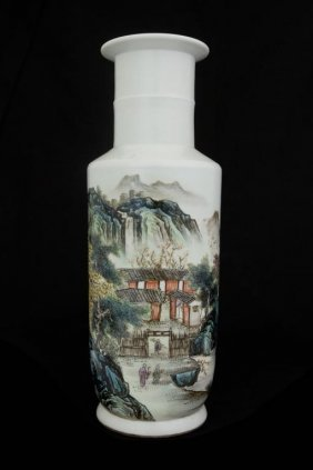 Chinese Rouleau Vase Painted With A Town Scene