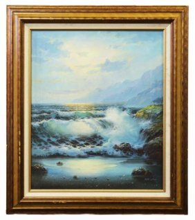 Oil On Canvas Painting Of Waves Crashing