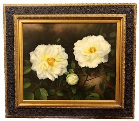 Oil On Canvas Painting Of Peony Blooms