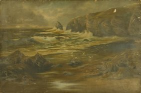 Oil Painting On Canvas Of A Tumultuous Beach