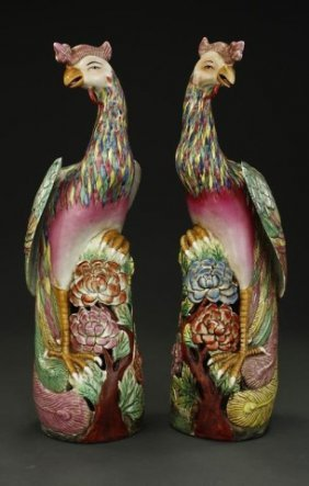 Pair Of Antique Chinese Porcelain Phoenix Figures