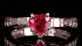 Platinum Ring With Diamond And Red Ruby
