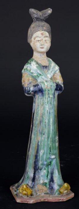 Antique Sancai Glazed Pottery Figure Of Court Lady