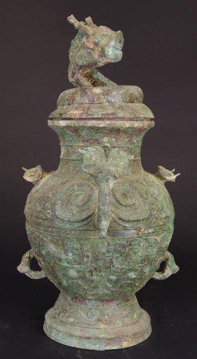 Chinese Lidded Bronze Wine Vessel