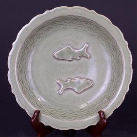 Chinese Celadon 'twin Fish' Dish