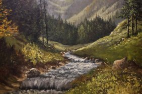 Framed Oil Painting On Canvas Of Forest