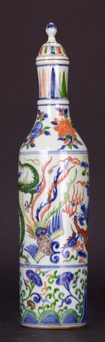 Chinese Doucai Cylindrical Vase With Cover