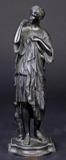French Bronze Statue Of Diane De Gabies