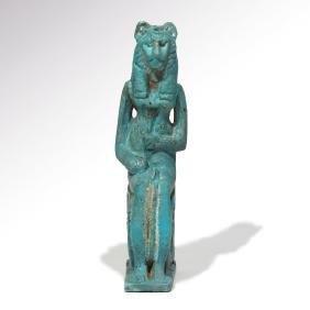 Egyptian Turquoise Faience Figure Of Sekhmet, 600 Bc