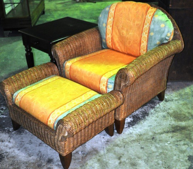 Henry Link Wicker Chair And Ottoman Lot 24