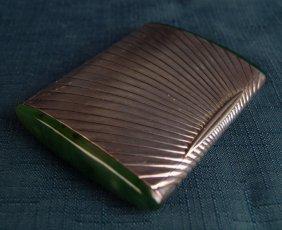 Rare Art Deco Sterling & Jade Cigarette Box,