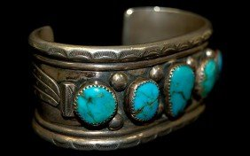 Navajo Sterling Old Pawn 5 Stone Turquoise Cuff