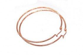 "NEW 14K Rose Gold 2.1"" Hoop Earrings"