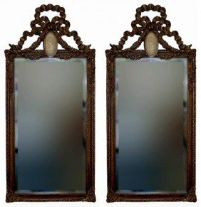 Bombay Cameo Beveled Mirror Pair