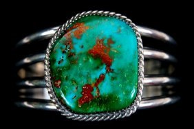 FINE Lady's Navajo Sterling Royston Turquoise Cuff