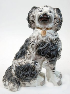 "Staffordshire Black And White 12"" Spaniel"
