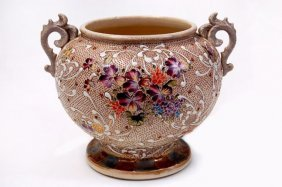 "Lovely Japanese 8"" X 10"" Moriage Jardiniere Having"