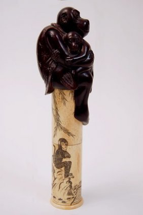 "Chinese Scrimshaw 8.5"" Bone Scepter With Carved Mon"