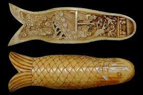"Carved Mastodon 6.5"" Ivory Tusk Fragment With Elabo"
