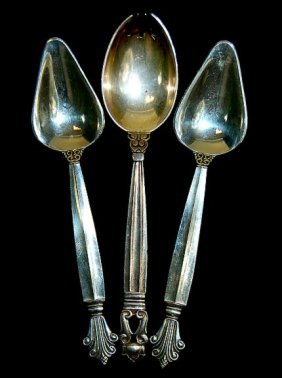 Georg Jensen Set Of 3 Sterling Flatware Pieces To I