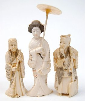 """Three Small Carved Ivory Figures To Include A 4"""" Gei"""