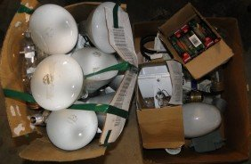 Two Full Boxes Of Misc. Light Bulbs And Fixtures -