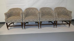 Set Of 4 Club Chairs Attributed To Dunbar From The Late