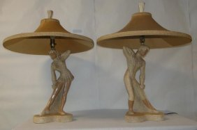 Pair Of 20th Century Modern, Late 40's, Early 50's Lamp